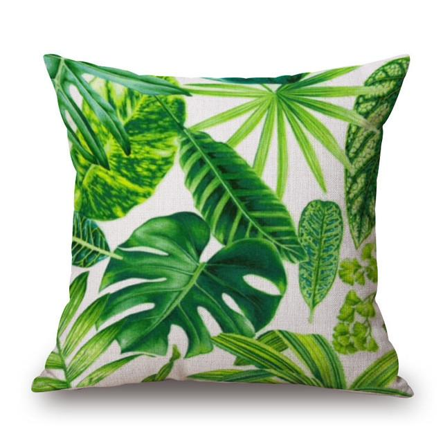Cushion Cover 11 Green Leaf Tropical Plant Flamingo Birds Pillow Cases