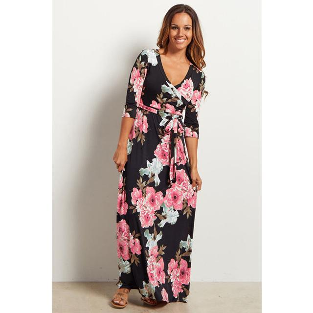 Deep V Neck Beach Casual Tunic Floral Printed Maxi Dress 1236 black / S