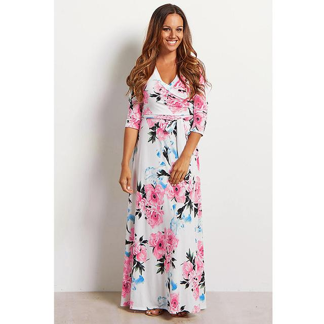 Deep V Neck Beach Casual Tunic Floral Printed Maxi Dress 1236 white / S
