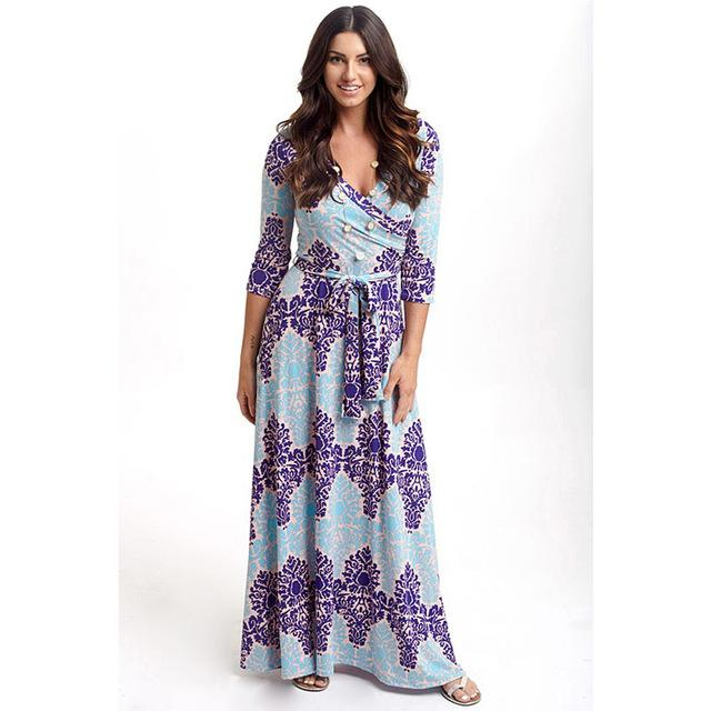 Deep V Neck Beach Casual Tunic Floral Printed Maxi Dress 1238 apricot / S
