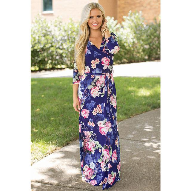Deep V Neck Beach Casual Tunic Floral Printed Maxi Dress 1239 royal blue / S