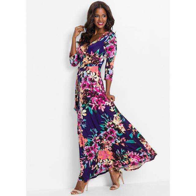 Deep V Neck Beach Casual Tunic Floral Printed Maxi Dress 1250 royal blue / S