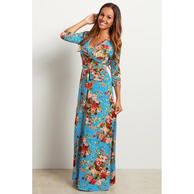 Deep V Neck Beach Casual Tunic Floral Printed Maxi Dress 1251 blue / S