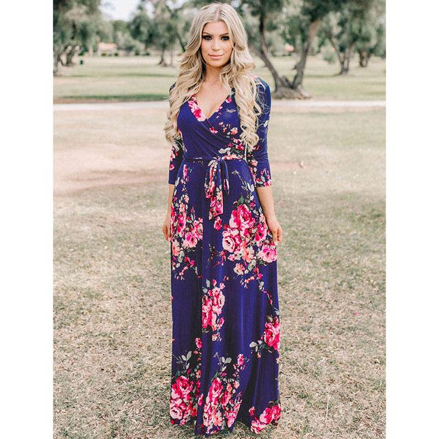 Deep V Neck Beach Casual Tunic Floral Printed Maxi Dress 1252 royal blue / S