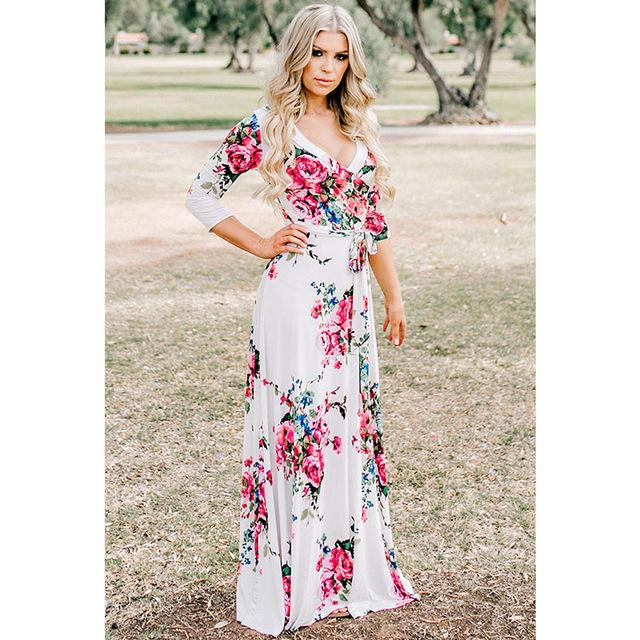Deep V Neck Beach Casual Tunic Floral Printed Maxi Dress 1252 white / S
