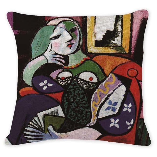 Cushion Cover 12955 Abstract Art Pillow Cases Oil Printed Picasso Pillow Cover