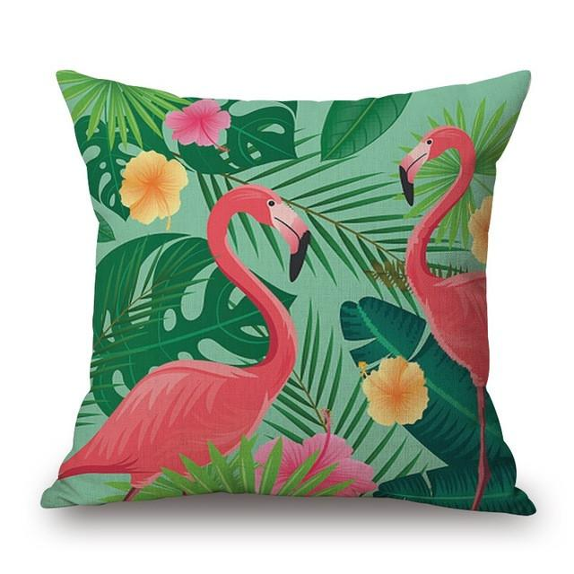 Cushion Cover 13 Green Leaf Tropical Plant Flamingo Birds Pillow Cases