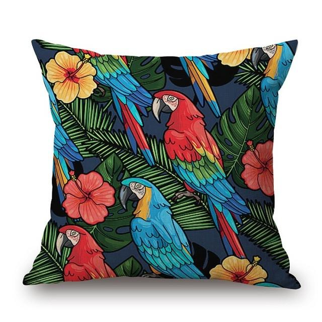 Cushion Cover 14 Green Leaf Tropical Plant Flamingo Birds Pillow Cases
