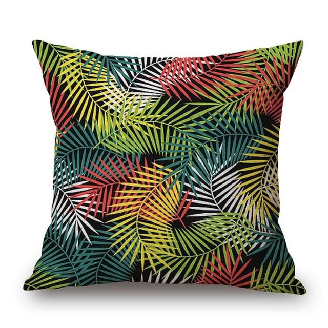 Cushion Cover 15 Green Leaf Tropical Plant Flamingo Birds Pillow Cases