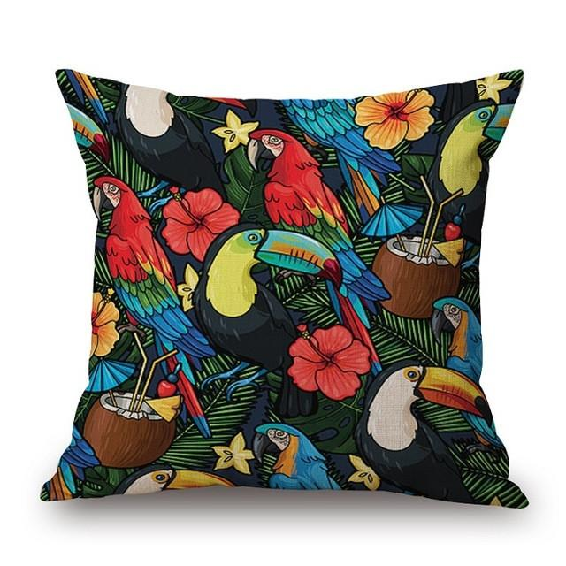 Cushion Cover 16 Green Leaf Tropical Plant Flamingo Birds Pillow Cases
