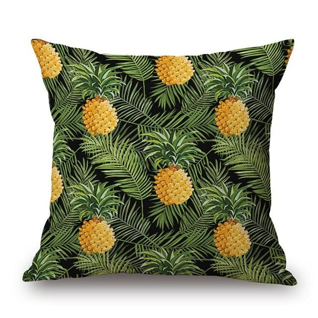 Cushion Cover 17 Green Leaf Tropical Plant Flamingo Birds Pillow Cases
