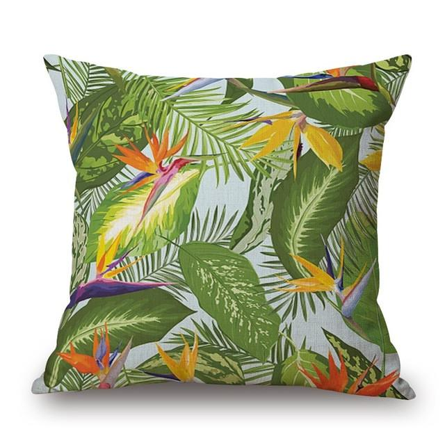 Cushion Cover 18 Green Leaf Tropical Plant Flamingo Birds Pillow Cases