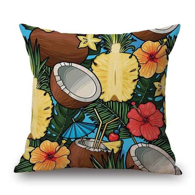 Cushion Cover 19 Green Leaf Tropical Plant Flamingo Birds Pillow Cases
