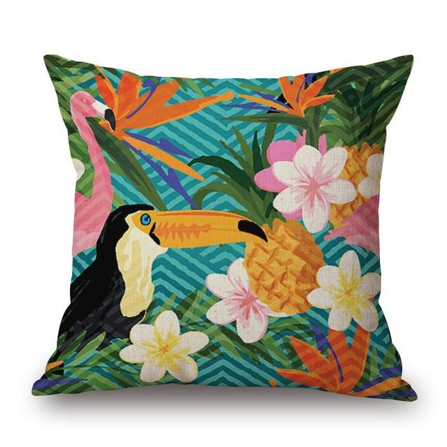 Cushion Cover 20 Green Leaf Tropical Plant Flamingo Birds Pillow Cases
