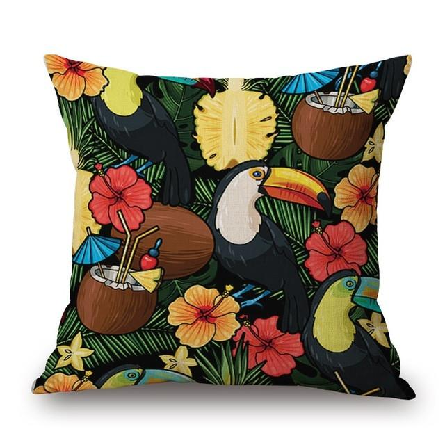 Cushion Cover 21 Green Leaf Tropical Plant Flamingo Birds Pillow Cases