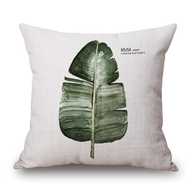 Cushion Cover 25 Green Leaf Tropical Plant Flamingo Birds Pillow Cases