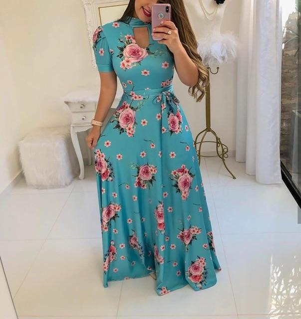 Beautiful Floral Prints on Retro Style Maxi Dress 2 / S