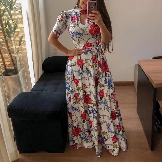 Beautiful Floral Prints on Retro Style Maxi Dress 3 / S