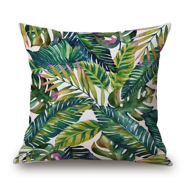 Cushion Cover 3 Green Leaf Tropical Plant Flamingo Birds Pillow Cases