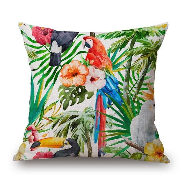 Cushion Cover 4 Green Leaf Tropical Plant Flamingo Birds Pillow Cases