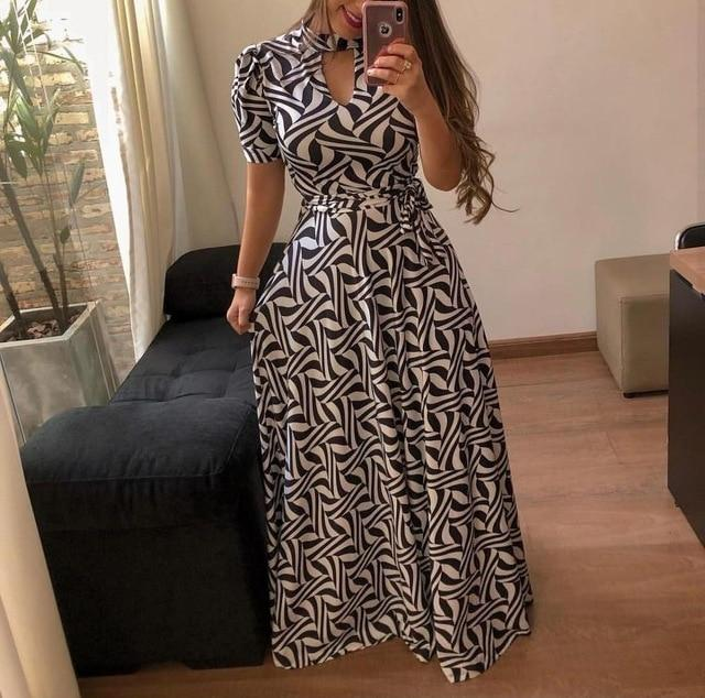 Beautiful Floral Prints on Retro Style Maxi Dress 4 / S