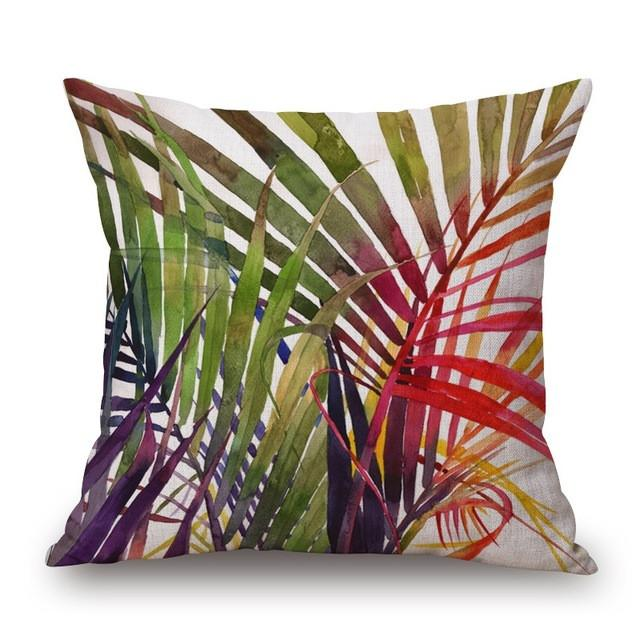 Cushion Cover 5 Green Leaf Tropical Plant Flamingo Birds Pillow Cases