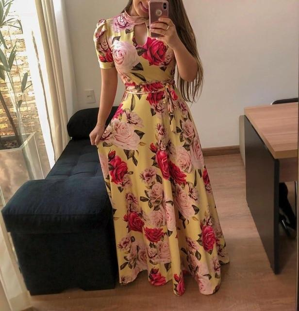 Beautiful Floral Prints on Retro Style Maxi Dress 5 / S