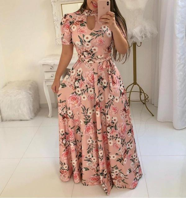 Beautiful Floral Prints on Retro Style Maxi Dress 6 / S