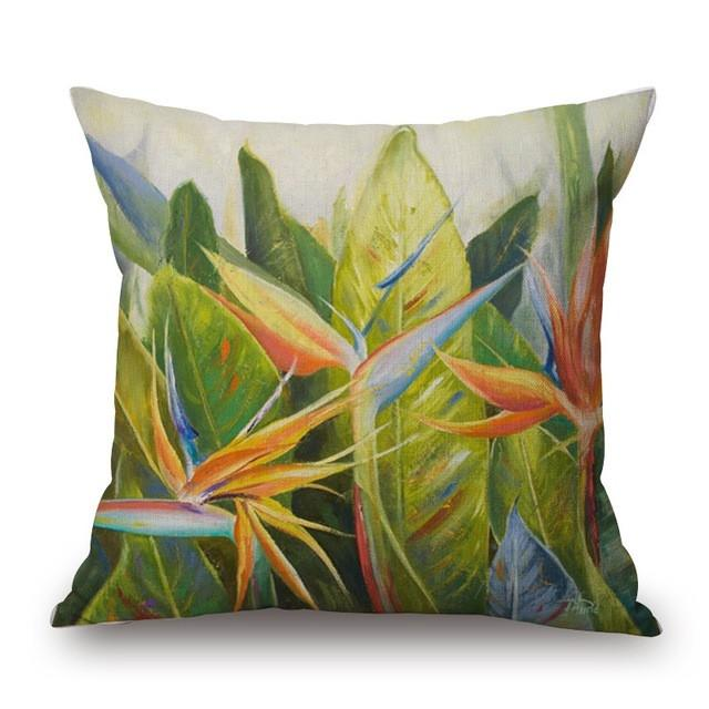 Cushion Cover 6 Green Leaf Tropical Plant Flamingo Birds Pillow Cases