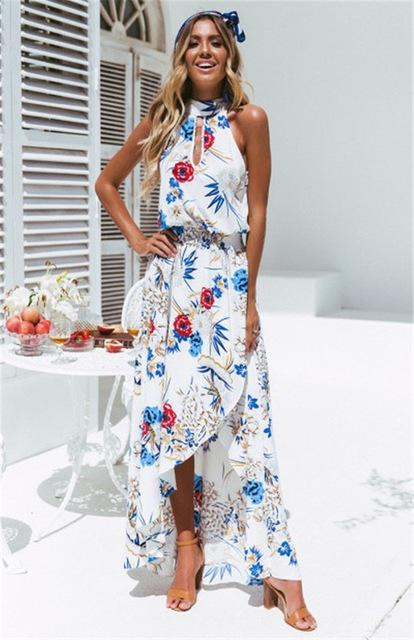 Dresses Ladies Halter Casual Loose Dress Floral White / S