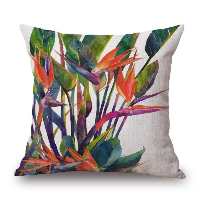 Cushion Cover 8 Green Leaf Tropical Plant Flamingo Birds Pillow Cases