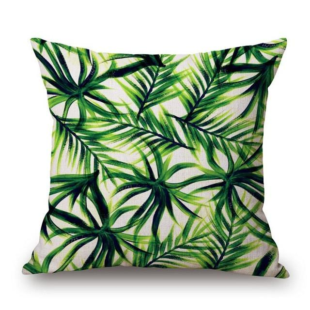 Cushion Cover 9 Green Leaf Tropical Plant Flamingo Birds Pillow Cases