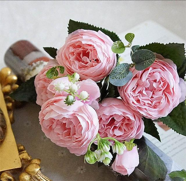 Artificial & Dried Flowers A49-2 Silk Rose Peony Artificial Flowers Home Decor