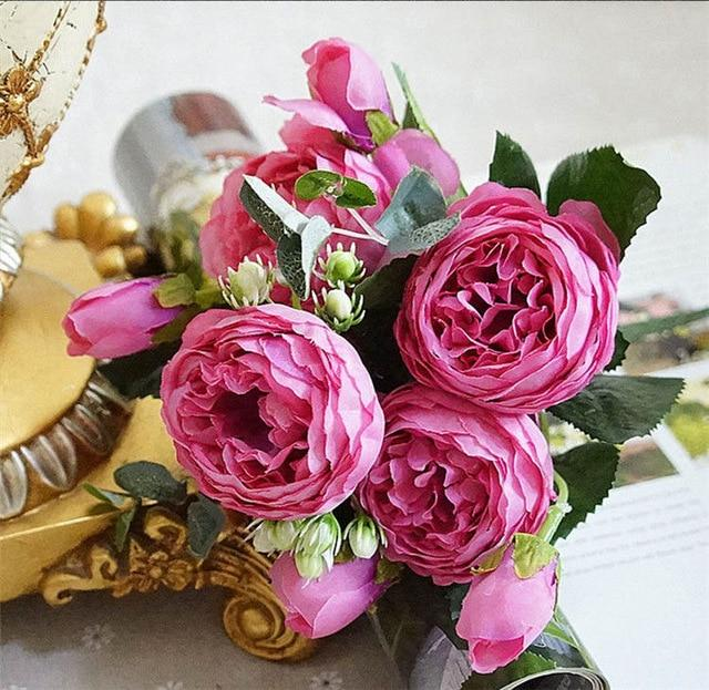 Artificial & Dried Flowers A49-4 Silk Rose Peony Artificial Flowers Home Decor