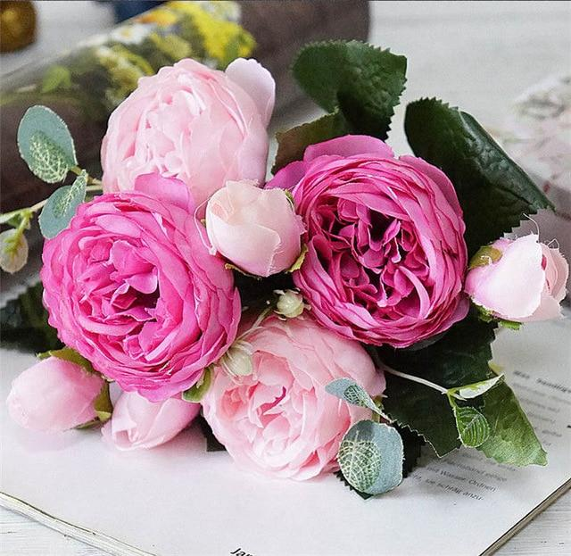 Artificial & Dried Flowers A49-6 Silk Rose Peony Artificial Flowers Home Decor
