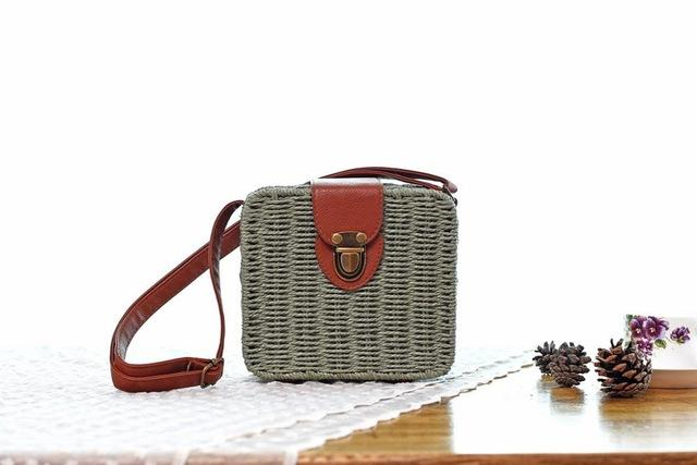 Shoulder Bags Army Green Candy Color Shoulder Bag Hand Made Straw Bags Woven Flap Pastoral Style Rattan Bag