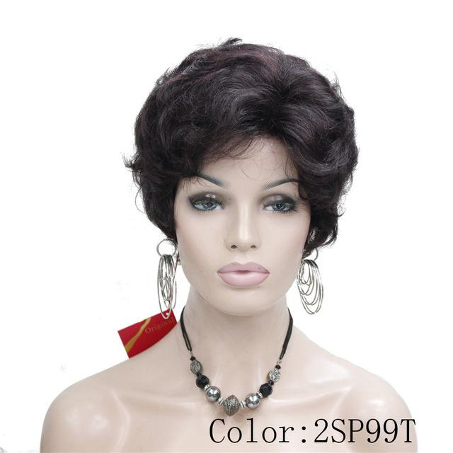Synthetic None-Lace Wigs Auburn Fluffy Curly Short Synthetic Hair Wig