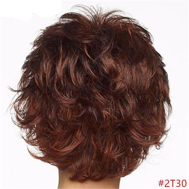 Auburn Short Body Wave Wig Ombre Black to Blonde Wigs Synthetic Hair