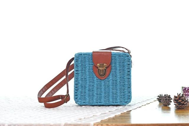 Shoulder Bags Azure blue Candy Color Shoulder Bag Hand Made Straw Bags Woven Flap Pastoral Style Rattan Bag