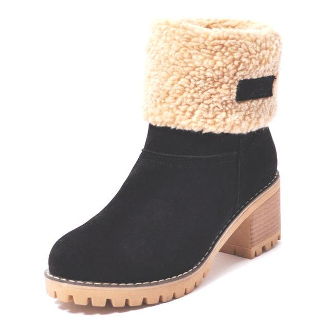 Ankle Boots Black / 4 Ladies  Snow Boots  Thick Bottom Platform Waterproof Ankle Boots
