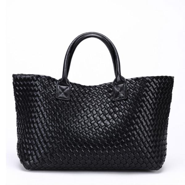 Top-Handle Bags Woven Synthetic Leather Handbag Large Tote Bucket bag Black / (30cm<Max Length<50cm)