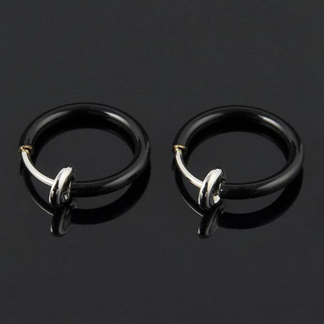 Clip Earrings Invisible No Ear Hole Earrings Clip Nose Ring 2pcs Black