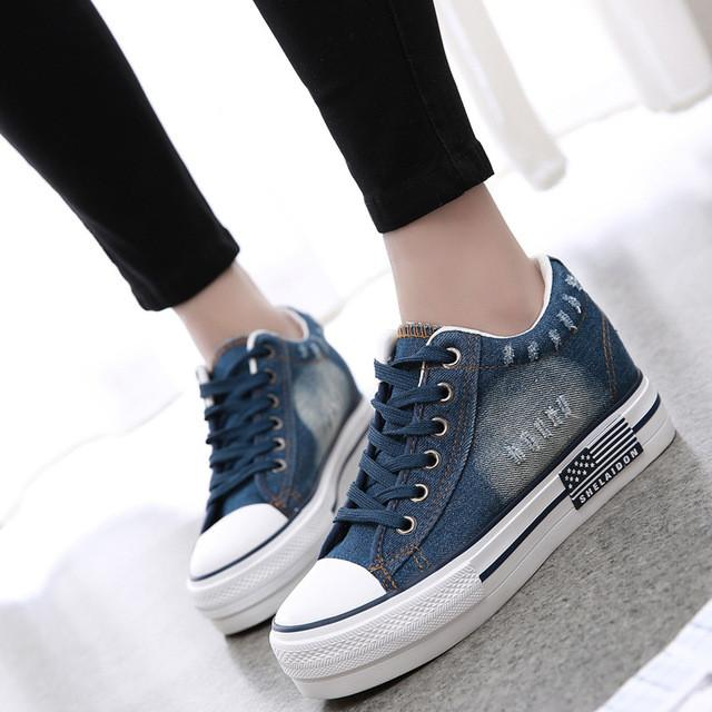 Canvas Shoes Lace Up Casual Denim Tennis  Shoes Ladies Platform Blue / 4