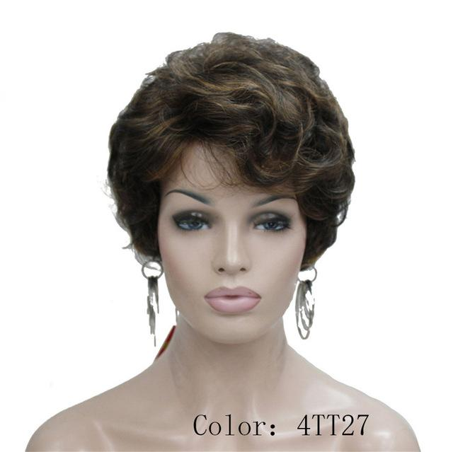 Synthetic None-Lace Wigs Brown Fluffy Curly Short Synthetic Hair Wig
