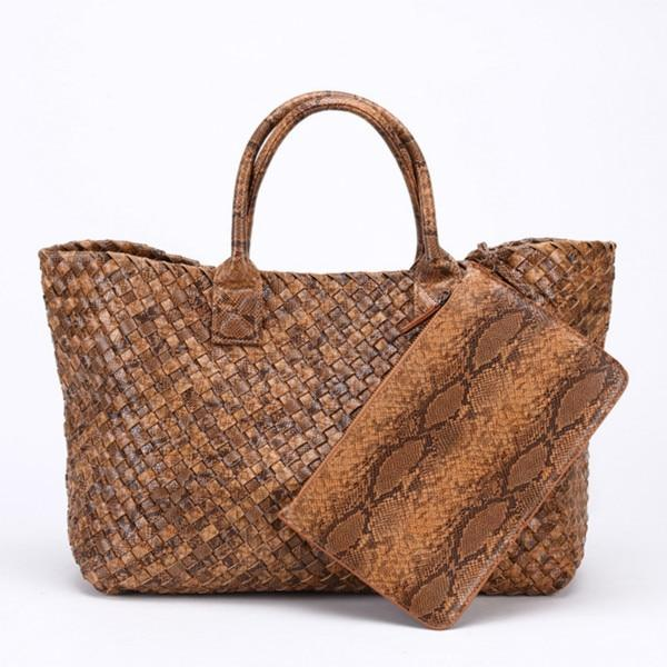Top-Handle Bags Woven Synthetic Leather Handbag Large Tote Bucket bag Brown / (30cm<Max Length<50cm)
