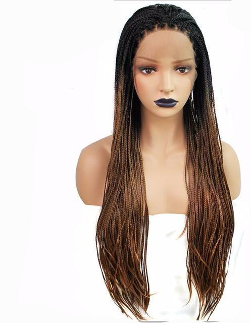 Brown / 22inches Brown Ombre Synthetic Braided Lace Front Wig
