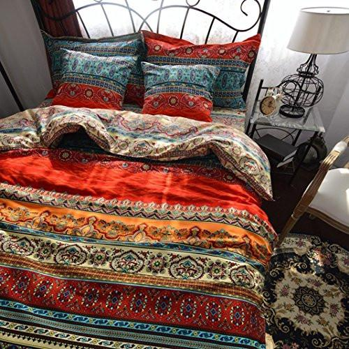 Color: 2 Boho Style Bedding Set Queen Duvet Cover Set Bohemian Bedding Set 3 Pcs