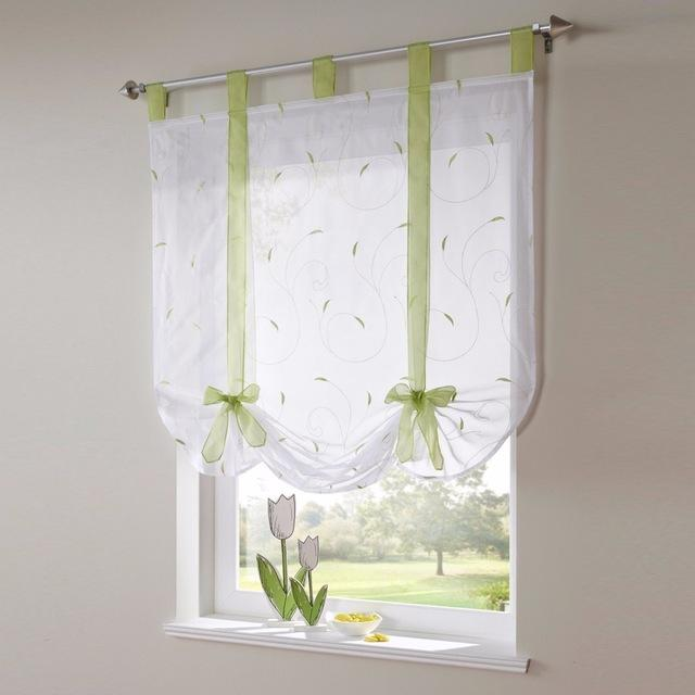 Blinds, Shades & Shutters Green / A 60X140CM Vertical Blind Tulle Curtains  Floral Sheer Panel Polyester