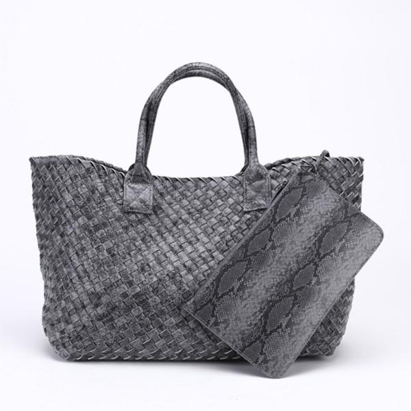 Top-Handle Bags Woven Synthetic Leather Handbag Large Tote Bucket bag Grey / (30cm<Max Length<50cm)
