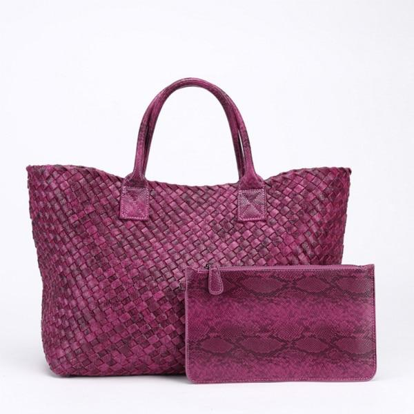 Top-Handle Bags Woven Synthetic Leather Handbag Large Tote Bucket bag Hot Pink / (30cm<Max Length<50cm)